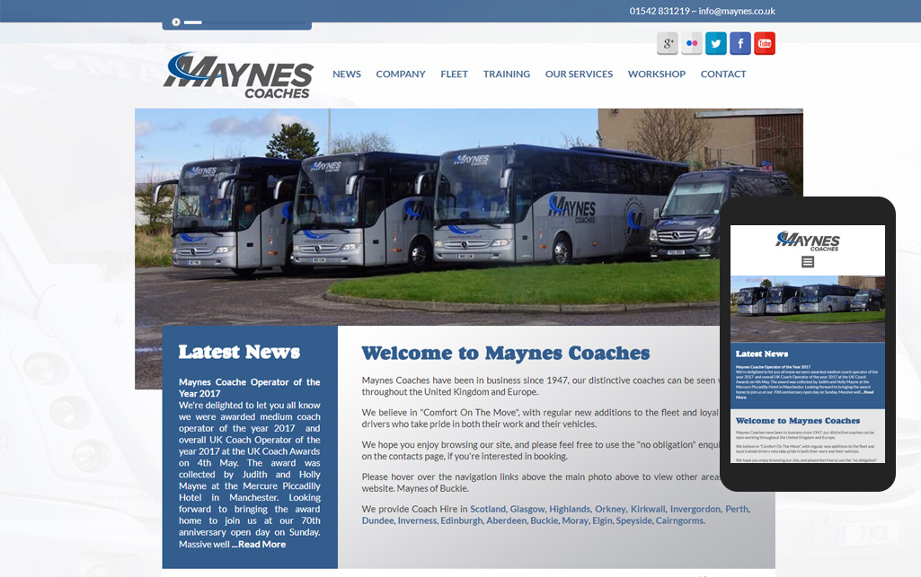 Website design for Maynes Coaches
